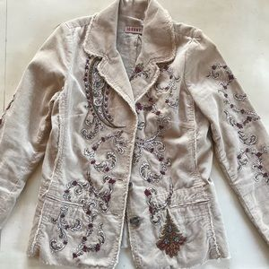 Johnny Was Corduroy Tan Embroidered Jacket